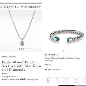 David Yurman 925 blue topaz diamonds cables set